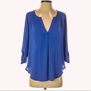 Lush Tops - Cobalt Blue Lush by Nordstrom 3/4 Sleeve Blouse